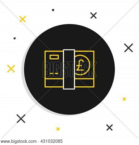 Line Pound Sterling Money Icon Isolated On White Background. Pound Gbp Currency Symbol. Colorful Out