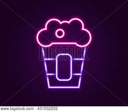 Glowing Neon Line Popcorn In Cardboard Box Icon Isolated On Black Background. Popcorn Bucket Box. Co