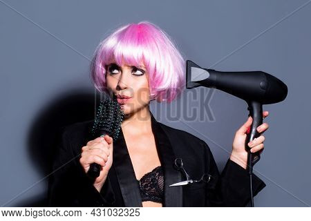 Sexy Woman With Hair Dryer. Beautiful Girl With Straight Hair Drying Hair With Professional Hairdrye