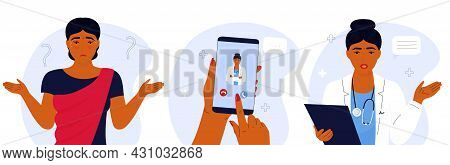 Doctor Online. Ehealth. Confused Indian Woman Has Cold. The Patient Makes A Video Call To The Medica