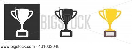 Rophy Cup. Champion Trophy, Shiny Golden Cup And Falling Confetti, Sport Award. Winner Prize, Champi