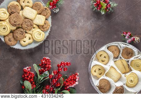 Biscuit. Background Texture. Stack Of Cookies Biscuit Texture From Biscuit.chocolate Sponge Cake. Ch