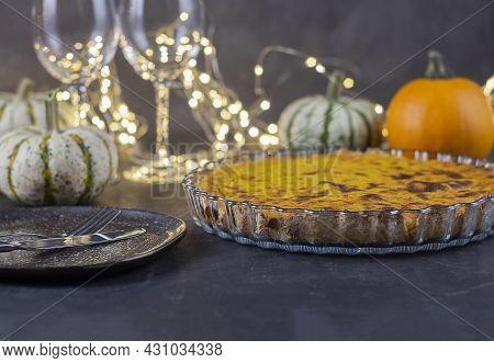Thanksgiving Day. Thanksgiving Autumn Background Of Pumpkins And Pie. Thanksgiving. Thanksgiving Bac