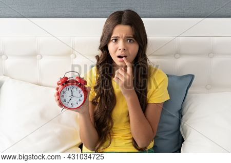 Worried About Being Late. Anxious Girl Hold Alarm Clock. Time Late. Oversleeping Morning