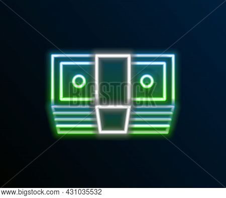 Glowing Neon Line Bribe Money Cash Icon Isolated On Black Background. Money Banknotes Stacks. Bill C