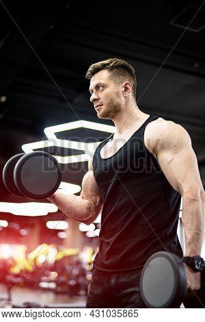 Strong Handsome Man Working Hard In Gym. Bodybuilder Training His Biceps.