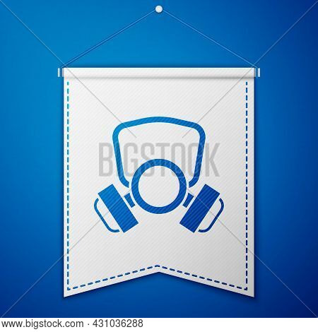 Blue Gas Mask Icon Isolated On Blue Background. Respirator Sign. White Pennant Template. Vector