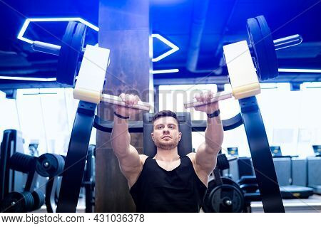 Sportive Lifestyle Man Training Hard In Gym. Healthy Handsome In Sportswear Workout.