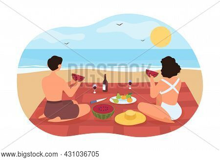 Picnic On Beach Concept. Young Couple In Love On Romantic Date. Man And Woman Are Sitting On Blanket