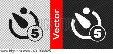 Black Camera Timer Icon Isolated On Transparent Background. Photo Exposure. Stopwatch Timer 5 Second