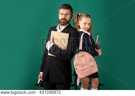 Back To School, Student Girl With Uniform. Father Or Teacher And Little Child School Girl In First G