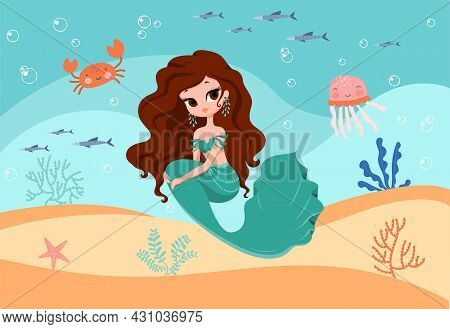 Underwater Mermaid Concept. Beautiful Girl With Fish Tail Sitting On Sandy Bottom Of Sea. Poster For