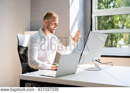 Business Man In Elearning Video Conference Webinar