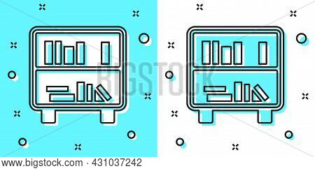 Black Line Shelf With Books Icon Isolated On Green And White Background. Shelves Sign. Random Dynami