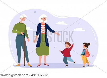 Grandchildren And Grandparents Concept. Retired Man And Woman Walking With Their Young Grandchildren