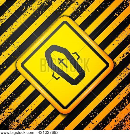 Black Coffin With Christian Cross Icon Isolated On Yellow Background. Happy Halloween Party. Warning