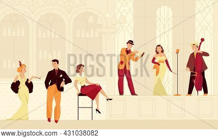 Retro Twenties Restaurant Composition With Characters Of Musicians And Visitors In Vintage Outfits W