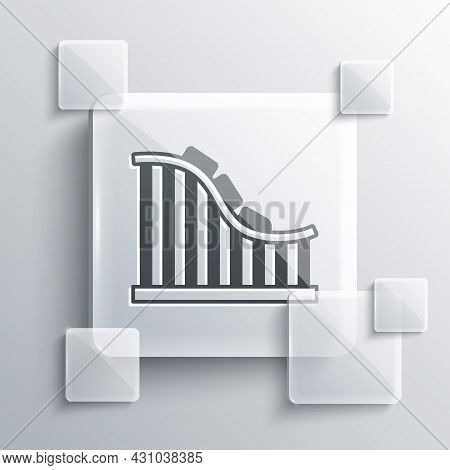 Grey Roller Coaster Icon Isolated On Grey Background. Amusement Park. Childrens Entertainment Playgr