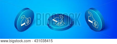 Isometric Traditional Brewing Vessels In Brewery Icon Isolated On Blue Background. Beer Brewing Proc