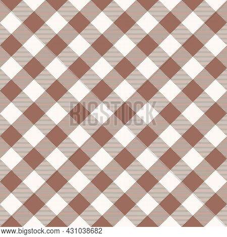 Beige Scotland Textile Seamless Pattern. Fabric Texture Check Tartan Plaid. Abstract Geometric Backg