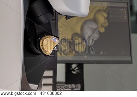 Cad Cam Equipment Modern Extraoral Laboratory Dental Scanner. Selective Focus.