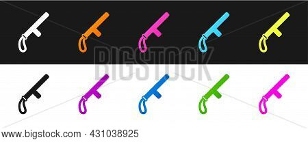 Set Police Rubber Baton Icon Isolated On Black And White Background. Rubber Truncheon. Police Bat. P
