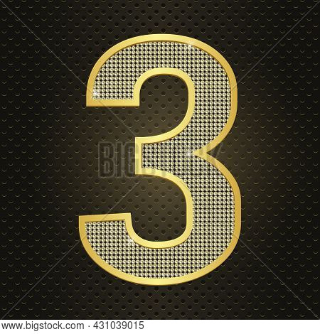 Vector Golden Number Three Shining Gold Number 3 Isolated On Black Background. Third Year Birthday O