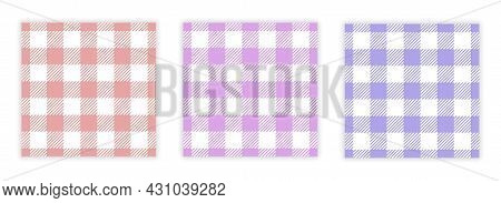 Gingham Pattern Set. Seamless Checkered Backgrounds For Tablecloths, Napkins, Bed Linen And Other Te