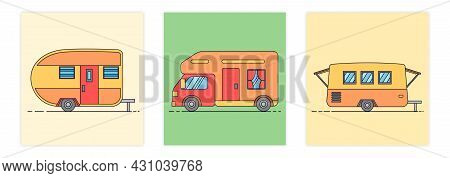 Colorful Camper Rv. Mobile Home For Country And Nature Vacation And Rest. Road Home Trailer. Modern