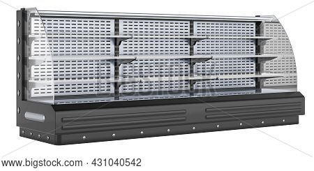 Horizontal Open Air Merchandiser. Merchandising And Display Refrigeration. 3d Rendering Isolated On