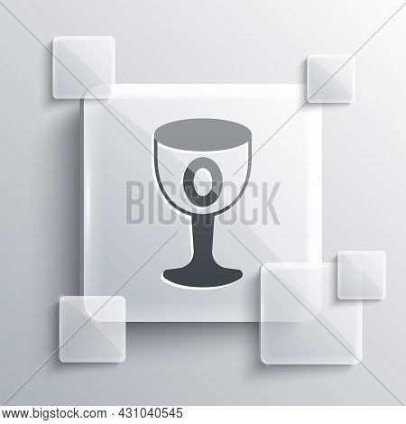 Grey Medieval Goblet Icon Isolated On Grey Background. Holy Grail. Square Glass Panels. Vector