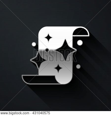 Silver Magic Scroll Icon Isolated On Black Background. Decree, Paper, Parchment, Scroll Icon. Long S