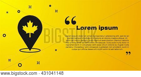 Black Canadian Maple Leaf Icon Isolated On Yellow Background. Canada Symbol Maple Leaf. Vector