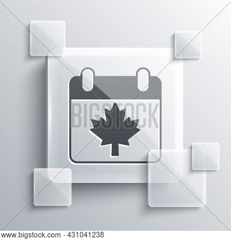 Grey Canada Day With Maple Leaf Icon Isolated On Grey Background. 1-th Of July Independence Day On T