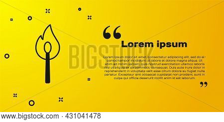 Black Burning Match With Fire Icon Isolated On Yellow Background. Match With Fire. Matches Sign. Vec
