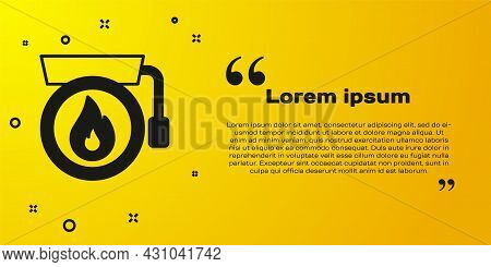 Black Ringing Alarm Bell Icon Isolated On Yellow Background. Fire Alarm System. Service Bell, Handbe