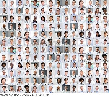 Diverse Multicultural Medical Doctor Photo Collage Headshot