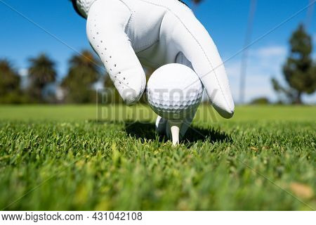 Hand Putting Golf Ball On Tee In Golf Course. Golf Ball In Grass. Golf Ball On Tee Ready To Be Shot.