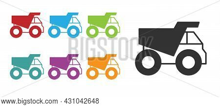 Black Mining Dump Truck Icon Isolated On White Background. Set Icons Colorful. Vector