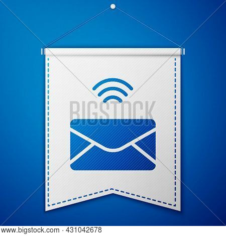 Blue Mail And E-mail Icon Isolated On Blue Background. Envelope Symbol E-mail. Email Message Sign. W