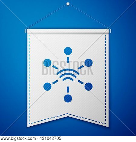 Blue Network Icon Isolated On Blue Background. Global Network Connection. Global Technology Or Socia