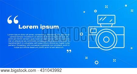 White Line Photo Camera With Lighting Flash Icon Isolated On Blue Background. Foto Camera. Digital P
