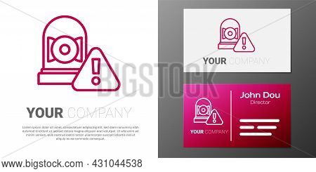 Logotype Line Ringing Alarm Bell Icon Isolated On White Background. Alarm Symbol, Service Bell, Hand
