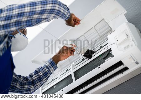 Air Conditioning Checking And Filter Cleaning. Maintenance Service