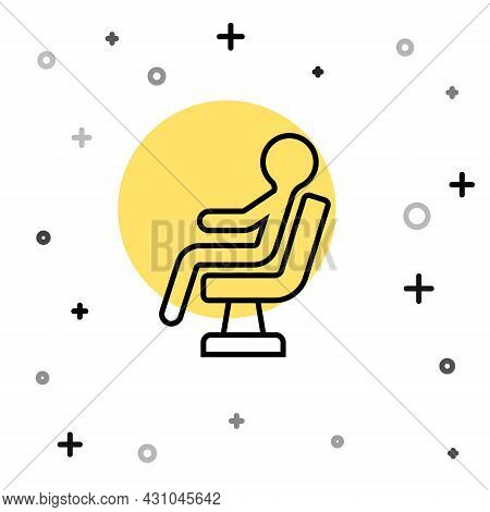Black Line Human Waiting In Airport Terminal Icon Isolated On White Background. Random Dynamic Shape
