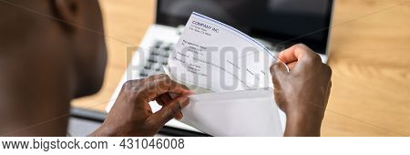 African Opening Payroll Cheque. Salary Payment Check