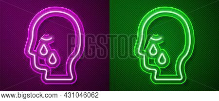 Glowing Neon Line Man Graves Funeral Sorrow Icon Isolated On Purple And Green Background. The Emotio