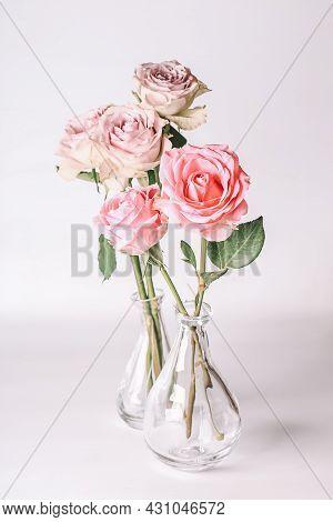 Bouquet Of Soft Pink Roses. Romantic Pastel Background. Bouquet Pastel Floral Card
