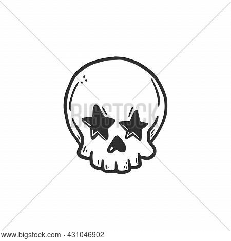 Hand Drawn Skull Head With Star Eyes. Doodle Sketch Style. Drawing Line Simple Skull Icon. Isolated