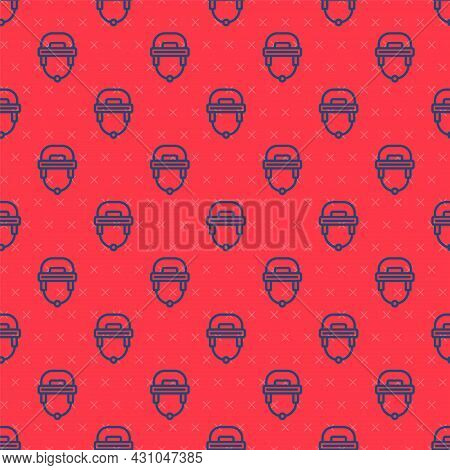 Blue Line Hockey Helmet Icon Isolated Seamless Pattern On Red Background. Vector